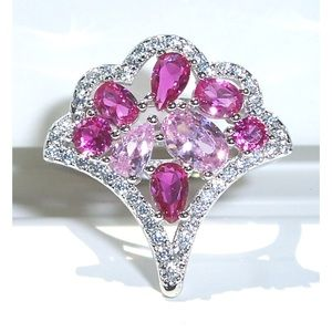 STERLING SILVER Pink Sapphire & Ruby CZ Fan Ring
